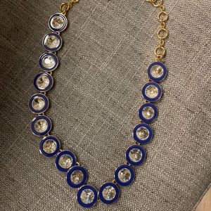 J Crew Blue/Gold + crystal necklace